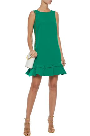 BADGLEY MISCHKA Fluted pleated crepe mini dress
