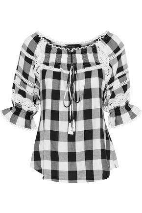 Marissa Webb Amalia lace-trimmed gingham cotton-blend twill blouse