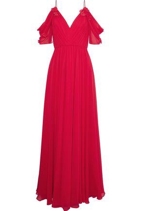 BADGLEY MISCHKA Cold-shoulder floral-appliquéd chiffon gown