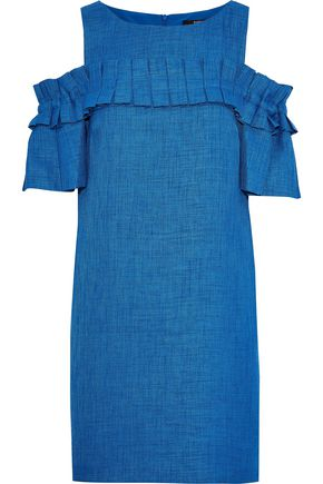 BADGLEY MISCHKA Cold-shoulder pleated woven mini dress