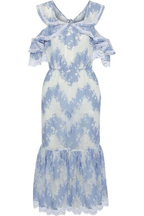 MARISSA WEBB Kendra embellished Chantilly lace cotton-blend midi dress
