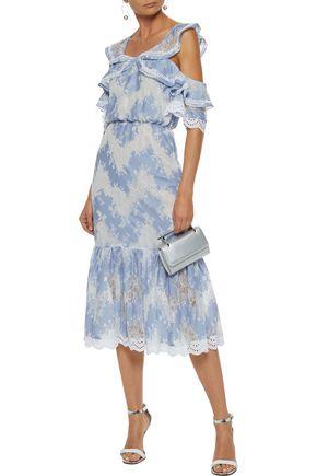 MARISSA WEBB Kendra embellished Chantilly lace cotton-blend midi dress