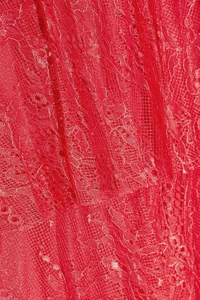 BADGLEY MISCHKA Tiered corded lace mini dress