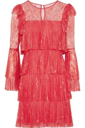 BADGLEY MISCHKA Tiered corded lace mini dress