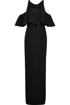 BADGLEY MISCHKA Cold-shoulder mesh-paneled ruffled crepe gown