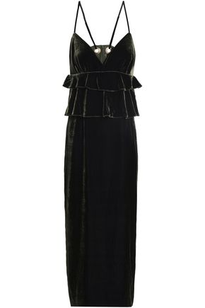 MOTHER OF PEARL Tiered velvet midi dress