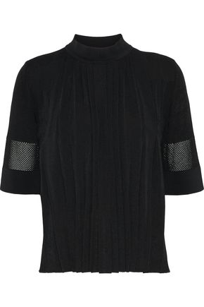 EMILIO PUCCI Mesh-paneled pleated knitted top