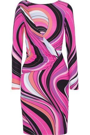 EMILIO PUCCI Wrap-effect printed jersey mini dress