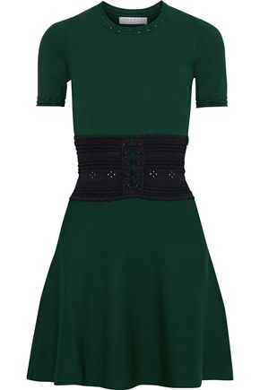 WOMAN BRANDY LACE-UP KNITTED MINI DRESS FOREST GREEN
