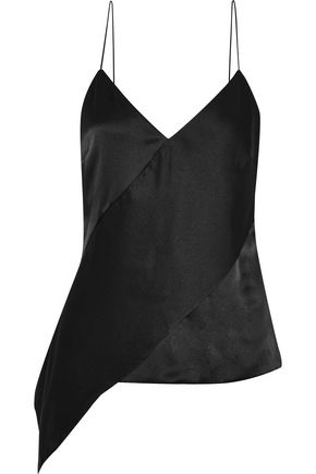 CUSHNIE ET OCHS Asymmetric silk-satin camisole