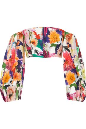 CUSHNIE ET OCHS Off-the-shoulders cropped floral-print cady top