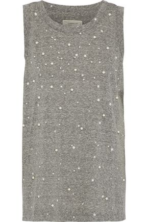CURRENT/ELLIOTT The Muscle faux pearl-embellished printed jersey tank