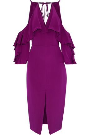 CUSHNIE Cold-shoulder ruffled silk crepe de chine midi dress