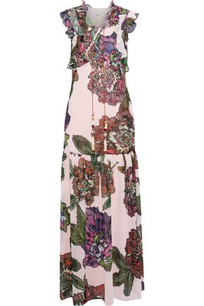 BADGLEY MISCHKA Lace-up floral-print crepe de chine maxi dress