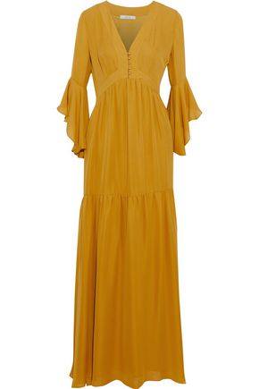 BADGLEY MISCHKA Silk crepe de chine maxi dress