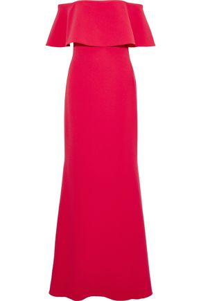 BADGLEY MISCHKA Off-the-shoulder layered cady gown