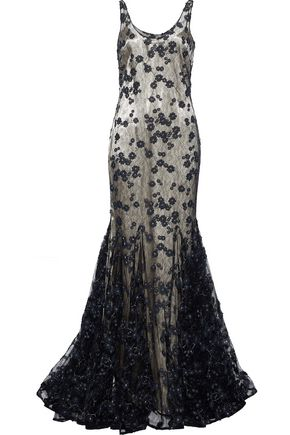 BADGLEY MISCHKA Floral-appliquéd lace gown