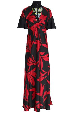 McQ Alexander McQueen Cotton-paneled printed twill maxi dress