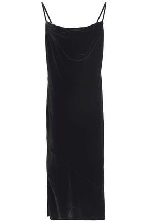 McQ Alexander McQueen Draped velvet midi dress