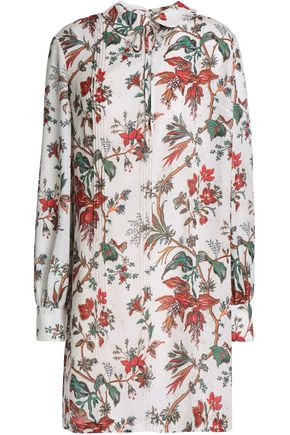 McQ Alexander McQueen Pintucked embellished printed crepe mini dress
