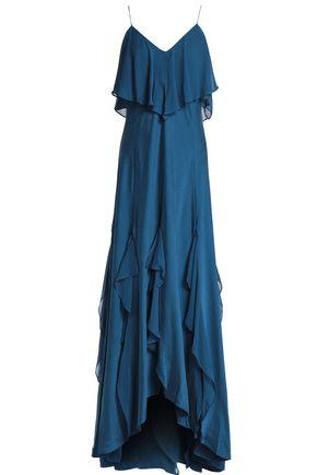 HAUTE HIPPIE Layered ruffled silk-blend gown