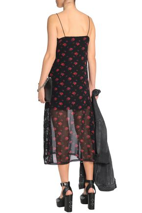 McQ Alexander McQueen Lace-trimmed floral-print silk-georgette midi dress