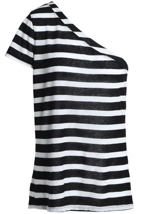 RTA One-shoulder striped cotton and cashmere-blend jersey top