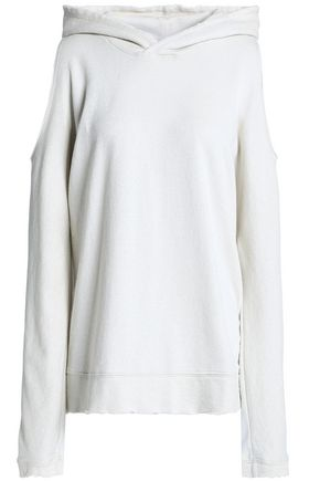 RTA Cold-shoulder cotton-blend hooded sweatshirt