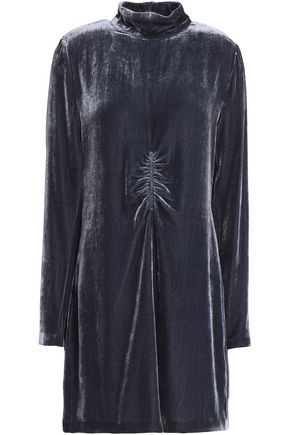 McQ Alexander McQueen Ruched velvet mini dress