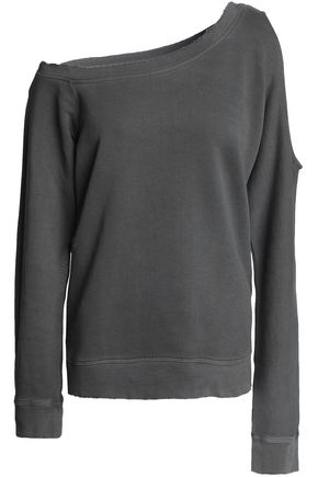 RTA On-shoulder cutout distressed French cotton-terry sweatshirt