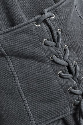 RTA Lace-up distressed French cotton-terry sweatshirt
