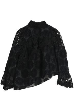 ANNA SUI Lace-paneled fil coupé cotton-blend organza blouse