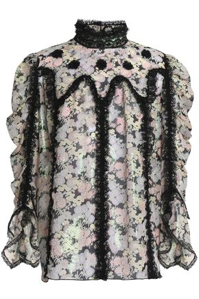ANNA SUI Lace-trimmed fil coupé silk-blend blouse