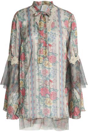 ANNA SUI Pussy-bow tulle-trimmed printed satin blouse
