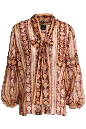 ANNA SUI Pussy-bow printed silk-blend blouse
