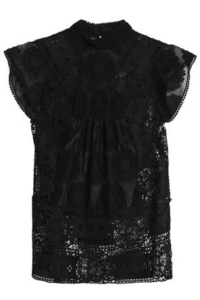 ANNA SUI Cotton-blend fil coupé and guipure lace top