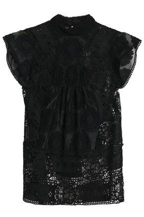 ANNA SUI Cotton-blend fil coupé and guipure lace top