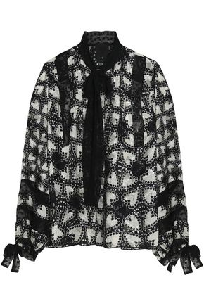 ANNA SUI Flocked tulle-trimmed printed silk-blend jacquard blouse