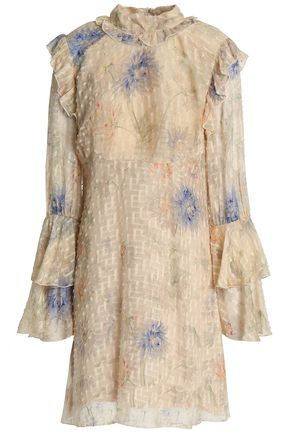 ANNA SUI Ruffle-trimmed cotton and silk-blend fil coupé mini dress
