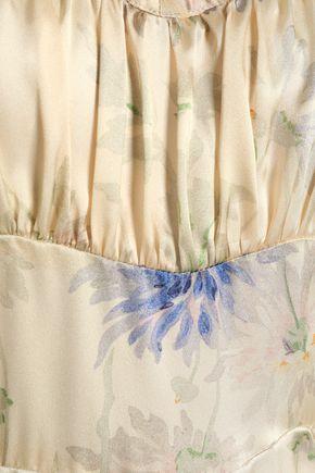 ANNA SUI Gathered floral-print silk-satin maxi dress