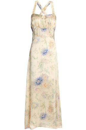 ANNA SUI Gathered floral-print silk-satin maxi dress