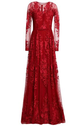 ZUHAIR MURAD Embroidered silk-blend tulle gown