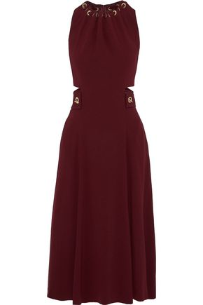 DEREK LAM 10 CROSBY Eyelet-detailed cutout crepe midi dress