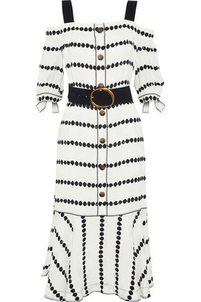 DEREK LAM 10 CROSBY Cold-shoulder belted printed silk-jacquard midi dress
