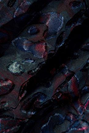 IRO One-shoulder printed devoré-chiffon blouse