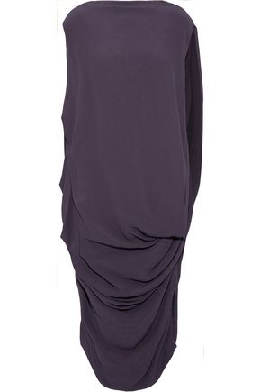RICK OWENS Draped crepe-jacquard dress