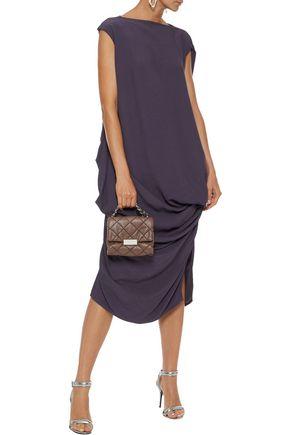 RICK OWENS Draped crepe-jacquard dress