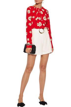 DEREK LAM 10 CROSBY Asymmetric tie-neck floral-print silk crepe de chine blouse