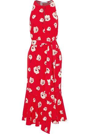 DEREK LAM 10 CROSBY Belted floral-print silk midi dress
