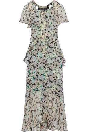 ANNA SUI Metallic floral-print fil coupé silk-blend midi dress